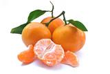 Mandarins on a white background