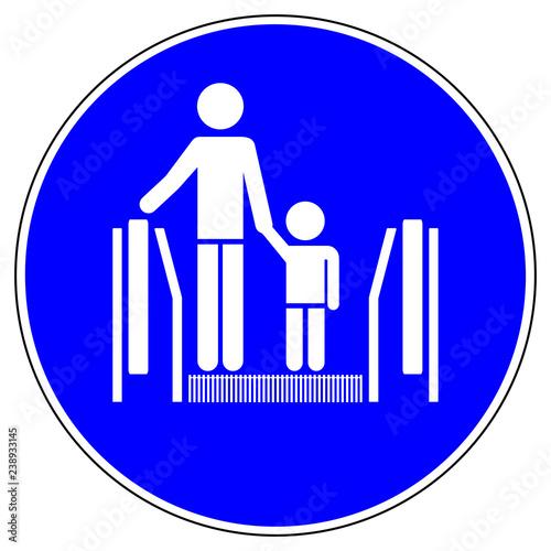 Leinwandbild Motiv ssne3 SafetySignNewEscalator ssne shas549 SignHealthAndSafety shas - german Gebotszeichen: Rolltreppe - Kinder an die Hand nehmen - english - escalator - children are to be supervised by adults g6858