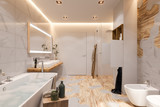 Interior design of a bathroom, 3d illustration in a Scandinavian s - 238940777