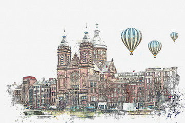 illustration or watercolor sketch. Traditional old architecture in Amsterdam. European architecture. Residential buildings and the Cathedral. Hot air balloons are flying in the sky.