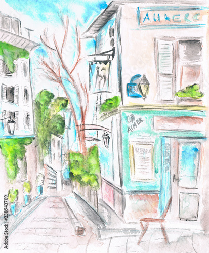 Paris street. The facade of the cafe. illustration. Watercolor