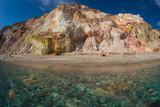 Beautiful and rare natural colors of Firiplaka beach, Milos, Greece - 238947785