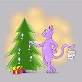 cat decorating Christmas tree with toy fish