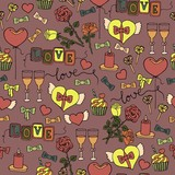 seamless pattern with romantic love objects