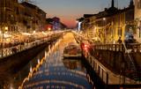 Luci di Natale sul naviglio a Milano