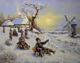 Oil paintings rural landscape. Winter. Fine art. Сhildren having fun riding ice slide in winter.