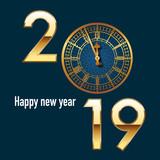 Carte de vœux 2019 de format carré, à l'élégance britannique, reprenant le cadrant de l'horloge de Big Ben juste avant les 12 coups de minuit © pict rider