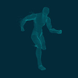 concept of sport science, graphic of dotted man running with particles - 238985111
