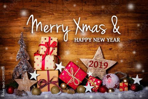 Leinwanddruck Bild Merry Christmas and happy new year 2019  -  Greeting Card
