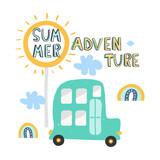 Summer print with slogan and retro car. Fashion kids graphic. Vector hand drawn illustration.