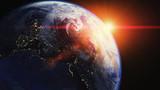 Fototapeta Space - Erde mit Sonnenaufgang - Sonne Gegenlicht im Weltraum (Space ISS) Weltall © Christopher Klein
