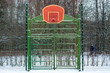 Outdoor sport playground covered with snow