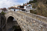 View of the traditional stone bridge in the city of  Elassona in Thessaly, Greece