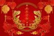 Happy Chinese new year retro gold red relief fish cloud wave lantern spring couplet flower and spiral round lattice frame