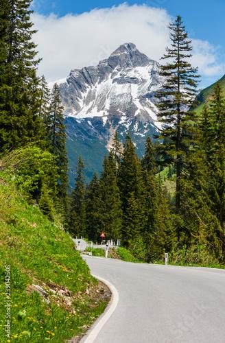 Summer Alps serpentine road
