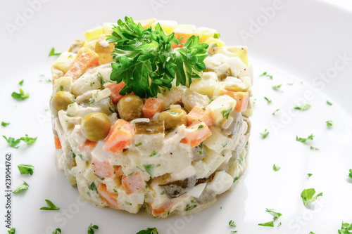 Russian Salad With Chicken Potato Onion Carrot Pea Egg Pickled