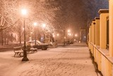 winter scene of city park with parked car covered with snow