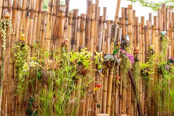 Tree on bamboo background © Surasak
