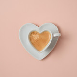 Heart shape coffee cup over pink background - 239051951