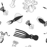 Set of cute cephalopods. Black and white vector background pattern.