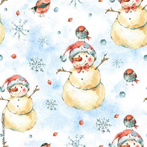 obraz lub plakat Winter Watercolor Christmas seamless pattern with cute sowman and birds.