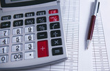calculator documents table pen
