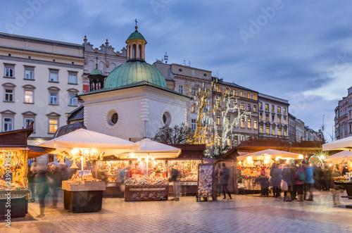 Krakow, Poland, Main Market Square and Christmas fairs