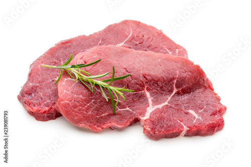 Fresh raw beef steak isolated on white. - 239081793