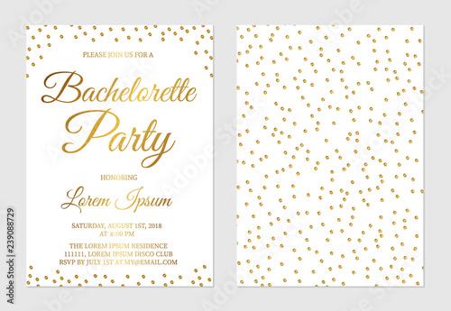 Gold glitter confetti bachelorette party invitation card front and back side. Golden polka dots bridal shower invite. Wedding stationery. Vector illustration.