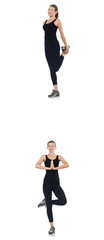 Young woman doing exercises isolated on white  © Elnur