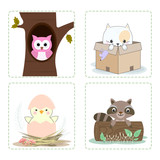 Set of cute animal couple cartoon character icon illustration
