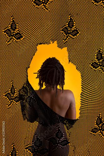 Black woman behind texture - 239103563