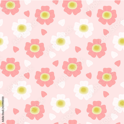 obraz lub plakat Seamless pattern beautiful cherry blossoms pink and white petals