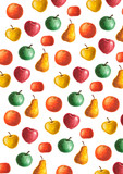 background with watercolor fruits