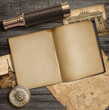 Diary and vintage travel accessories top view. Adventure and exploration concept.