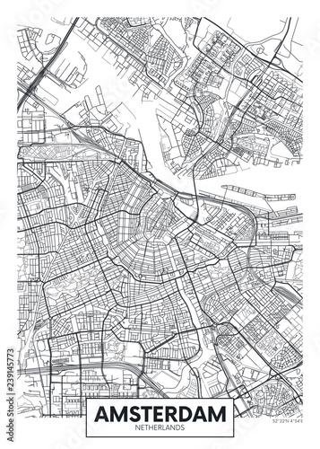 City map Amsterdam, travel vector poster design