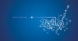 New Year 2019 midnight clock line design sparkle firework champagne white blue vector - 239156775