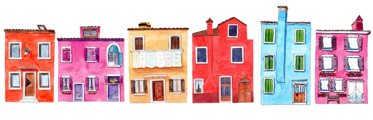 Set of watercolor colorful illustration of a houses from Burano © tanialerro