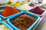 Various eastern spices and seasonings for different dishes in the shop - 239167323