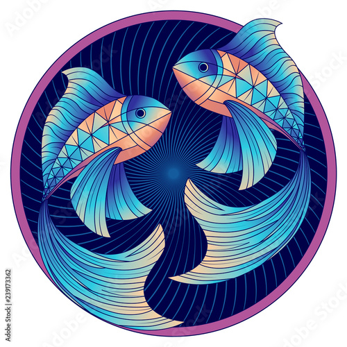 Pisces zodiac sign, horoscope symbol blue, vector © lady_leona