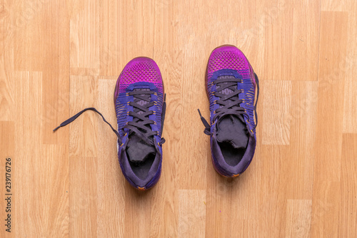 top view of couple of purple sport shoes sneakers on the wooden parquet in the gym f