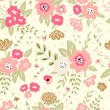 Trendy colorful seamless floral pattern with modern simple flowers. Cute repeated pattern for fabric design, wallpaper,wrapping paper