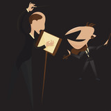 Classical music violin concert vector illustration: conductor and violinist on the stage performing a passionate classical music concert. - 239185572