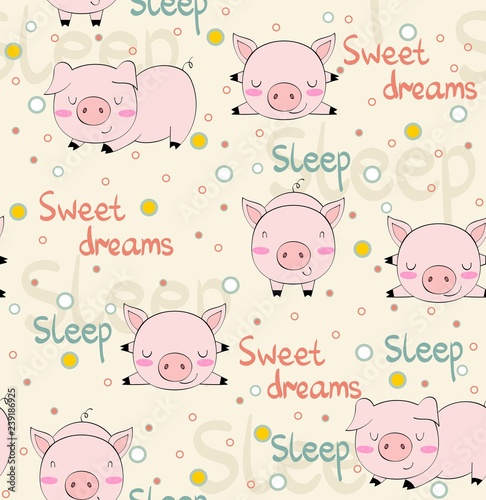 obraz lub plakat hand drawn vector seamless pattern with pigs.