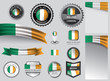 Made in Ireland seal, Irish flag and color --Vector Art-- - 239187346