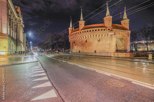 obraz PCV Barnakan Kraków nocą