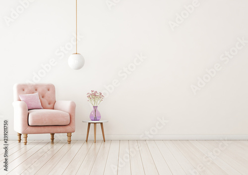 Leinwanddruck Bild Living room interior wall mock up with pink tufted armchair, pastel pillow, hanging lamp and flowers in vase on  empty warm white background.  Free space on right. 3D rendering.