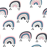 Seamless childish pattern with cute rainbow, .Creative scandinavian kids texture for fabric, wrapping, textile, wallpaper, apparel. Vector illustration - 239213304