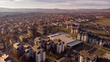 Aerial view of Kragujevac town in central Serbia. Sunny day on start of winter.
