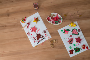 Colour palette and homemade christmas holiday ornaments © Gajus